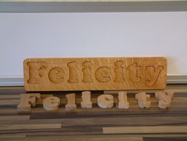 Personalised Solid Oak Wooden Name Jigsaw Puzzle